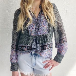 NEW Printed Blouse with Tassels